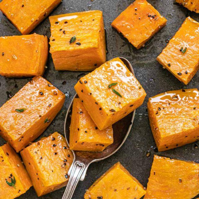 Roasted Sweet Potatoes up close