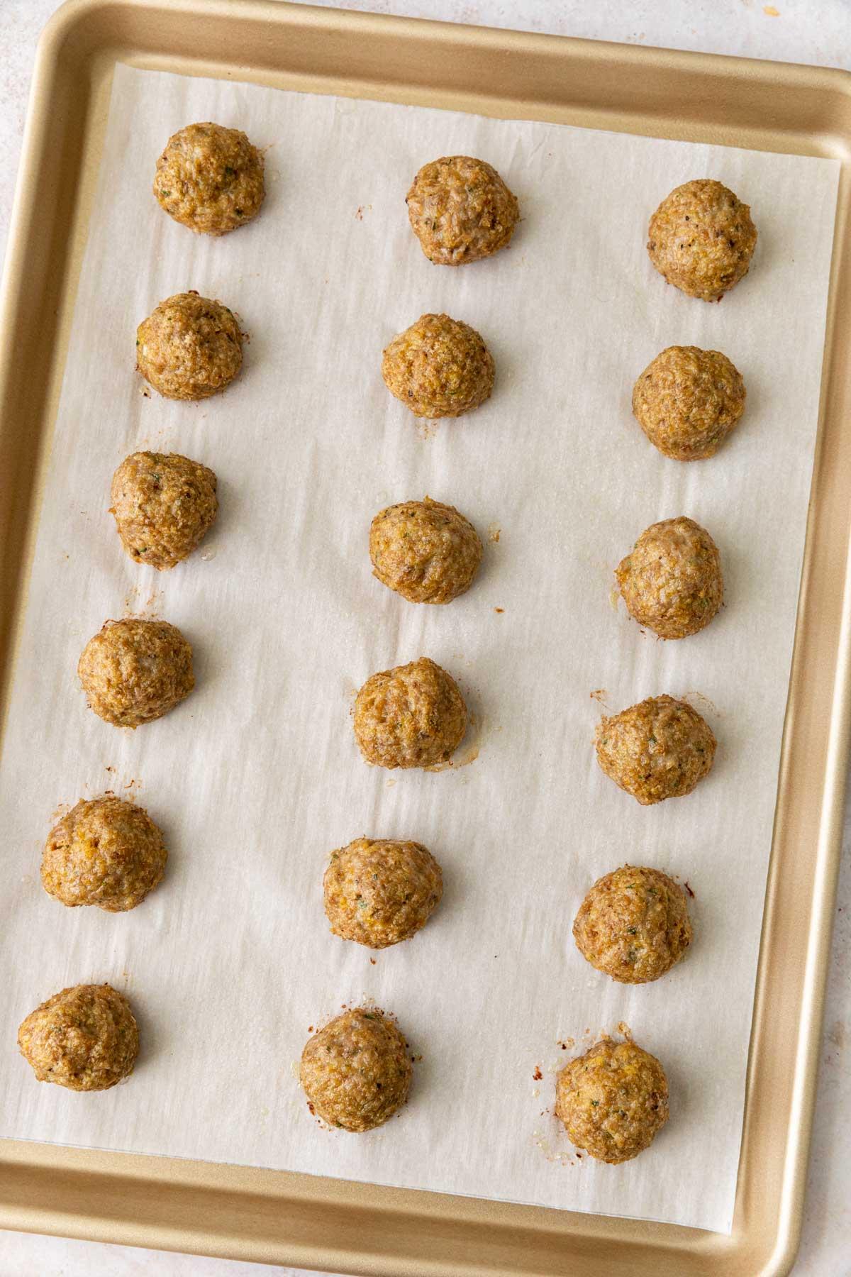 Turkey Meatballs on sheet pan, cooked