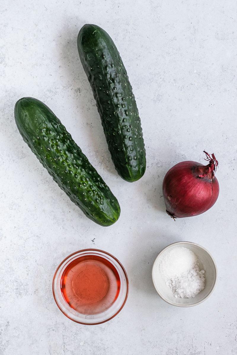 Cucumber Salad ingredients