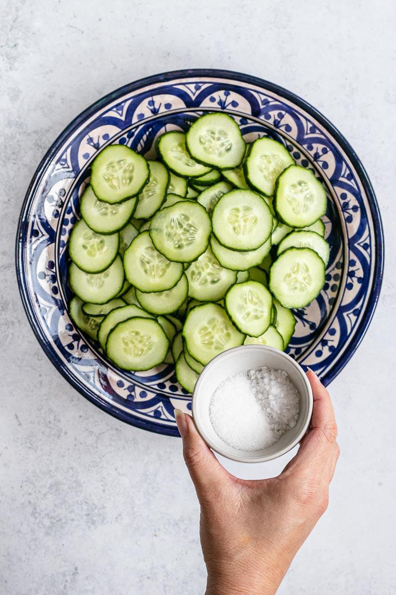 Cucumber Salad sliced cucumbers and salt