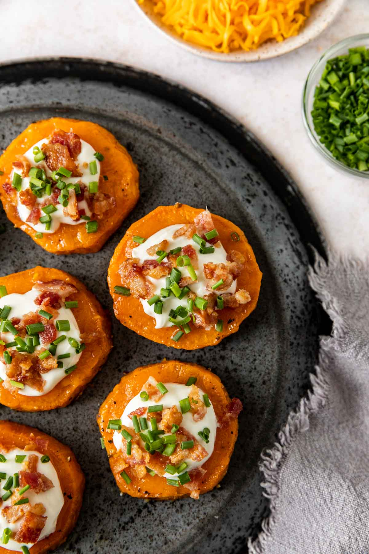 Roasted Sweet Potato Rounds on plate