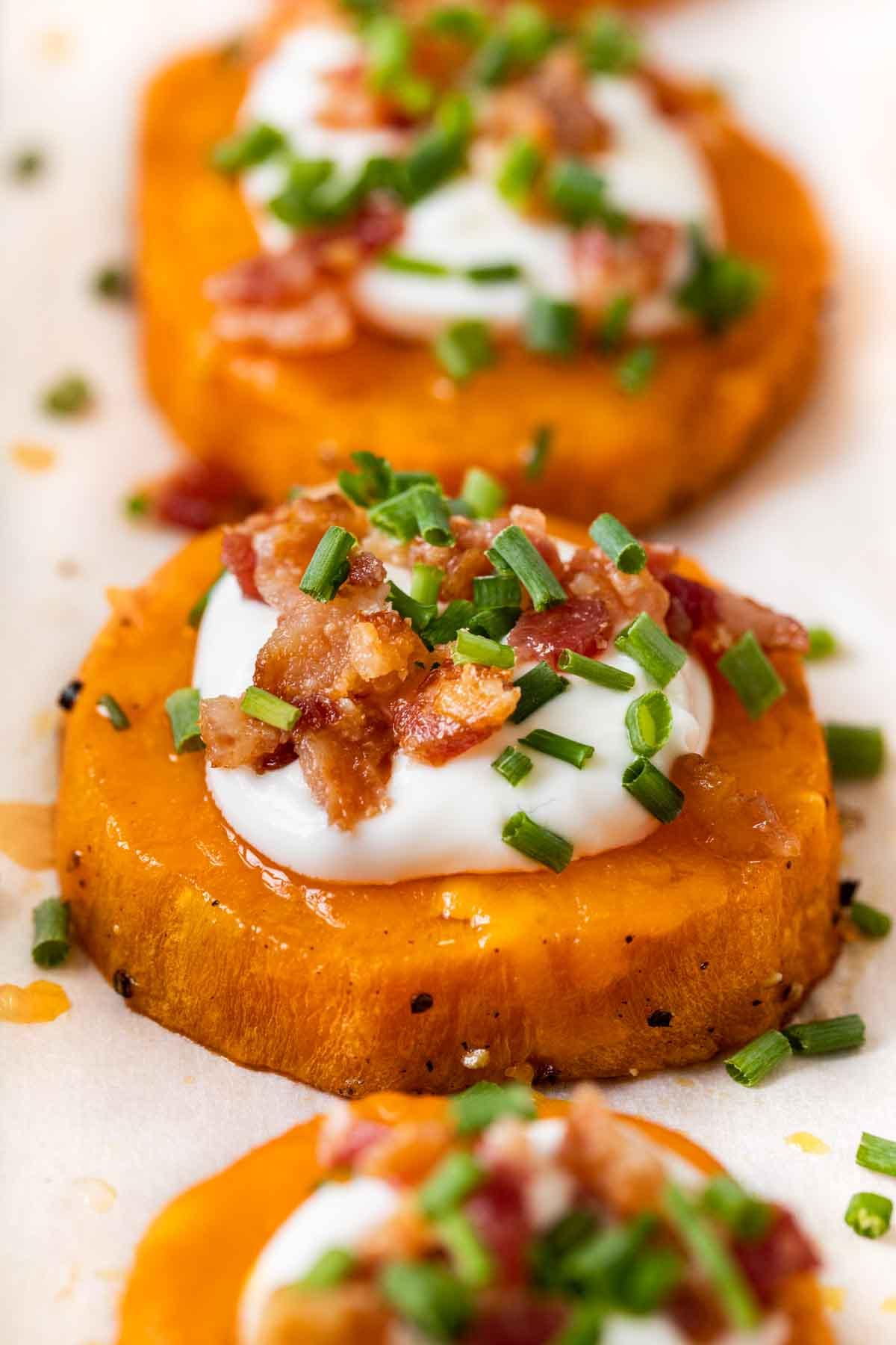 Loaded Sweet Potato Rounds on baking dish