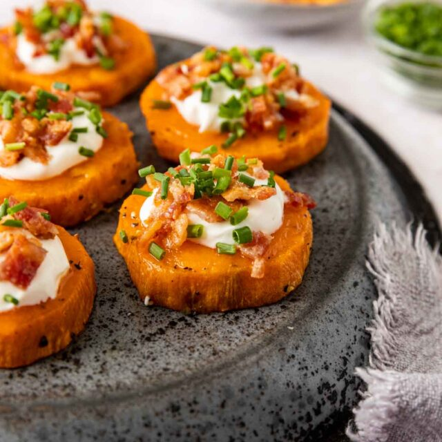 Loaded Sweet Potato Rounds on plate