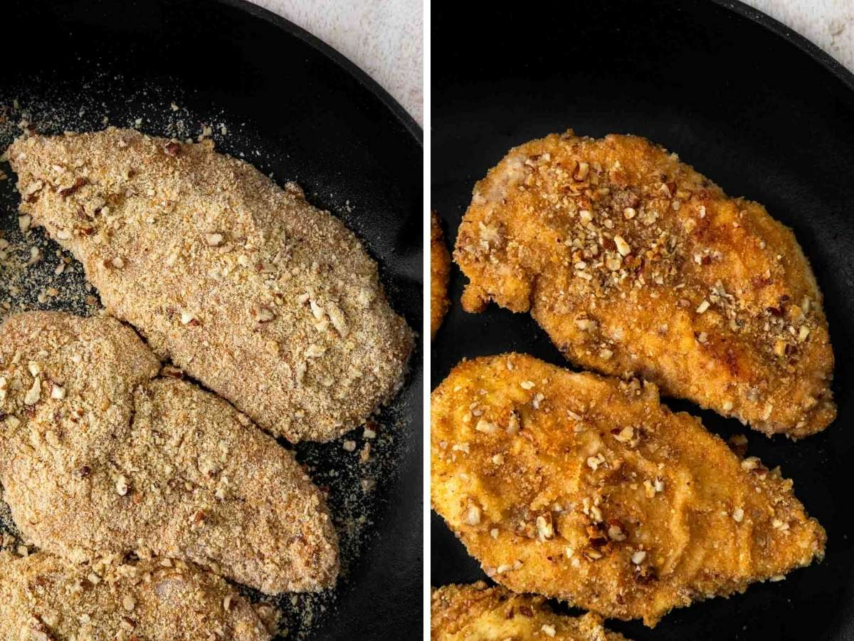 Pecan-Crusted Chicken collage in cast-iron pan before and after cooking