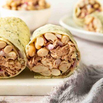 White Bean Tuna Salad in tortilla wrap