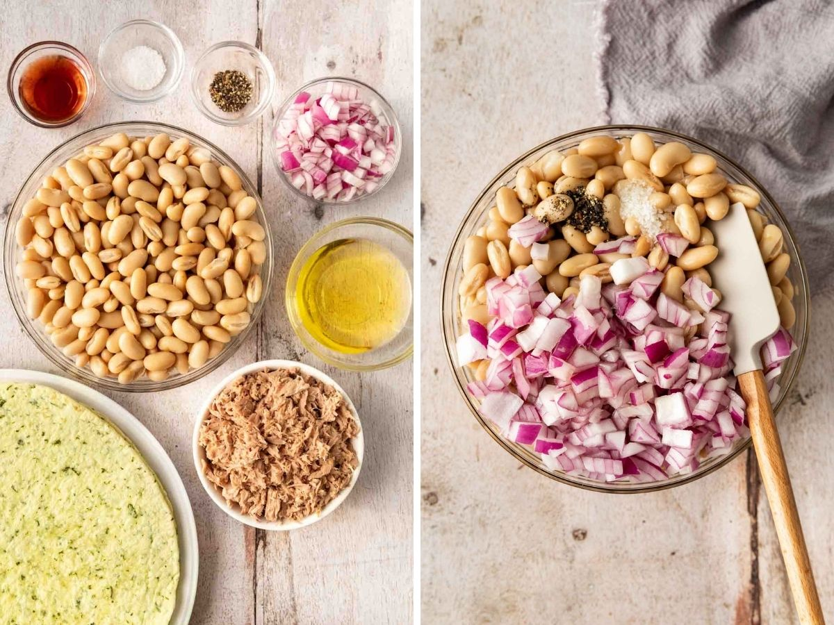 White Bean Tuna Salad ingredients before and after mixing