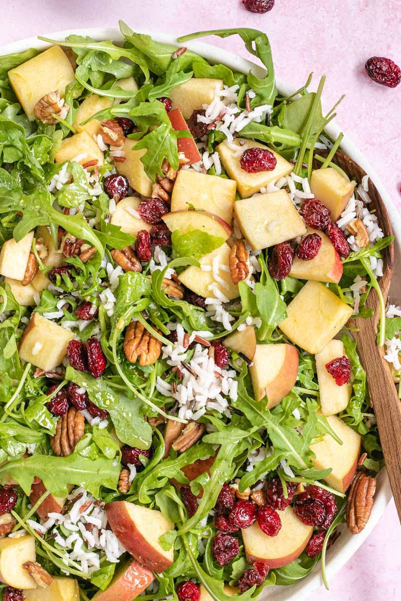Wild Rice Salad in mixing bowl