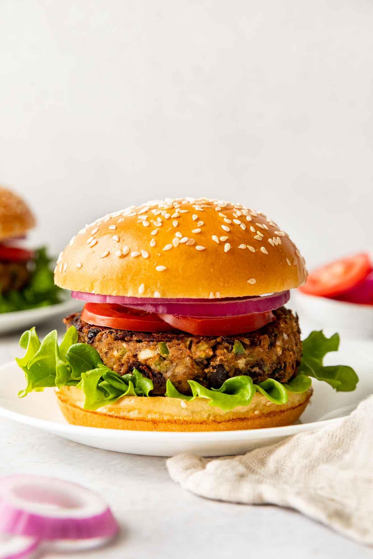 Black Bean Burger on plate