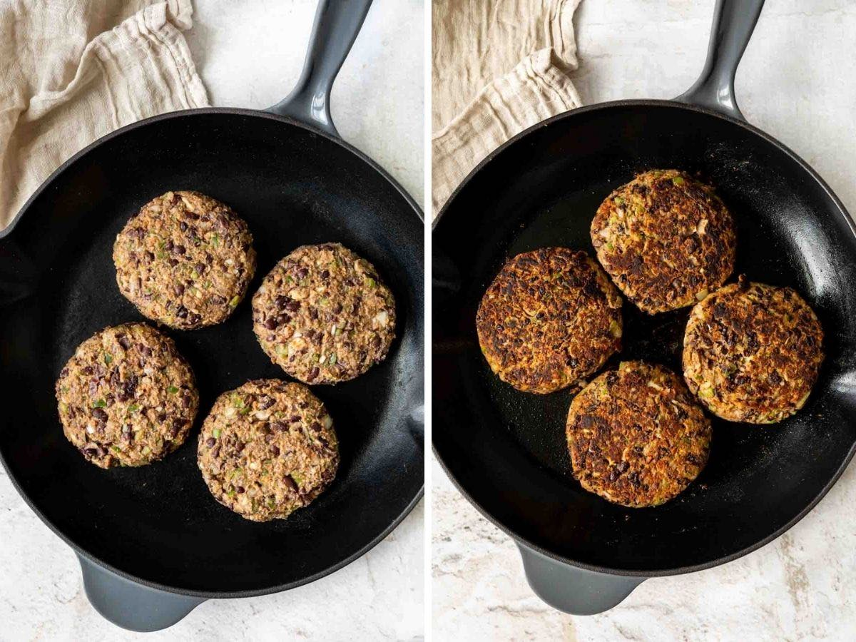 Black Bean Burgers in cast iron pan before and after cooking