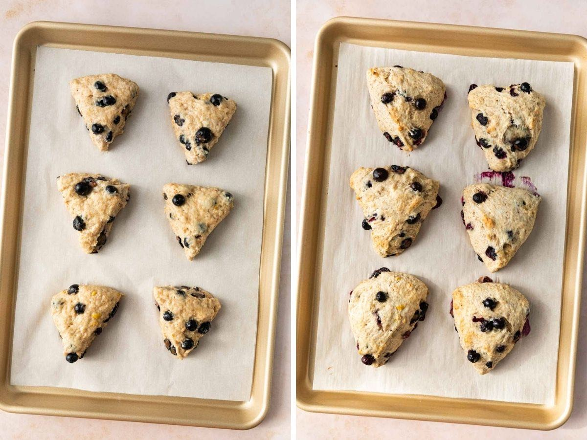 Blueberry Scones collage before and after baking