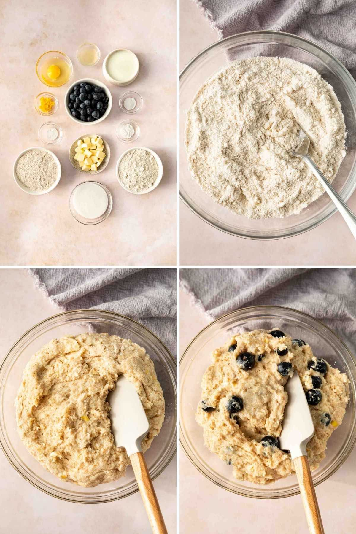 Blueberry Scones collage of batter being mixed