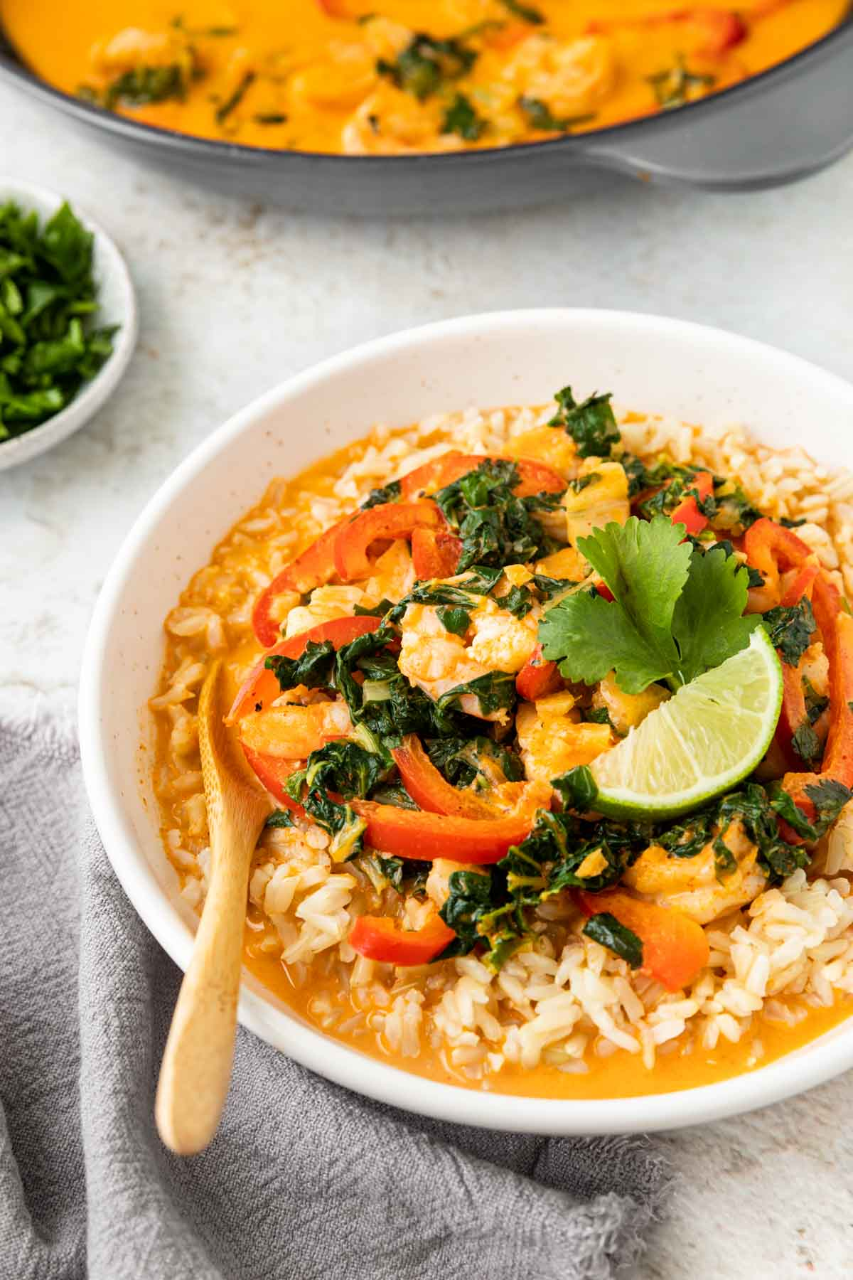 Coconut Shrimp Curry in bowl