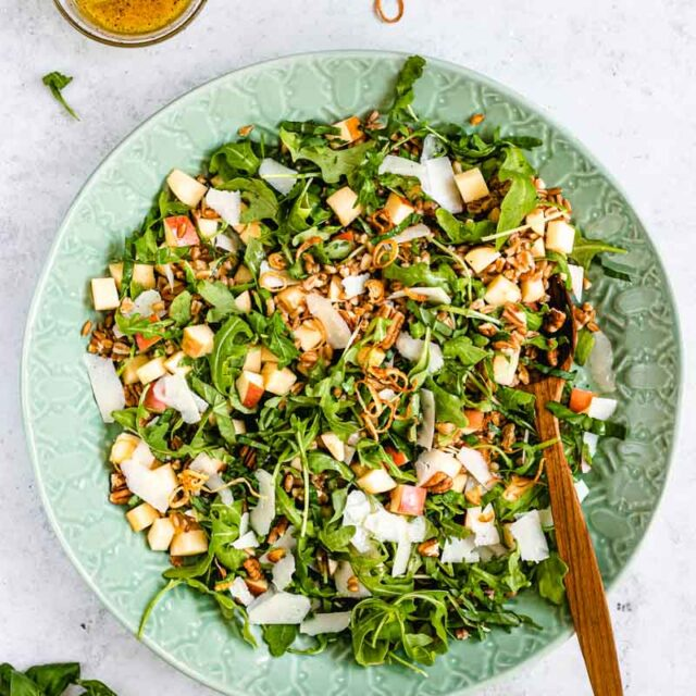 Farro Salad tossed in mixing bowl