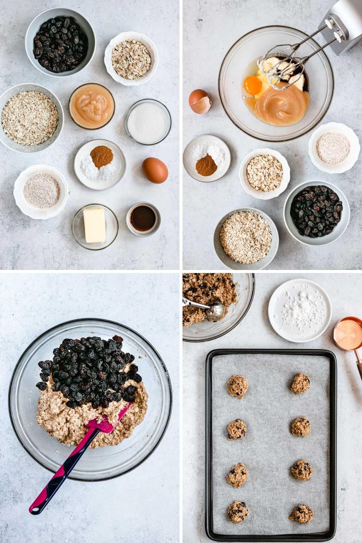Healthy Cinnamon Oatmeal Raisin Cookies preparation collage