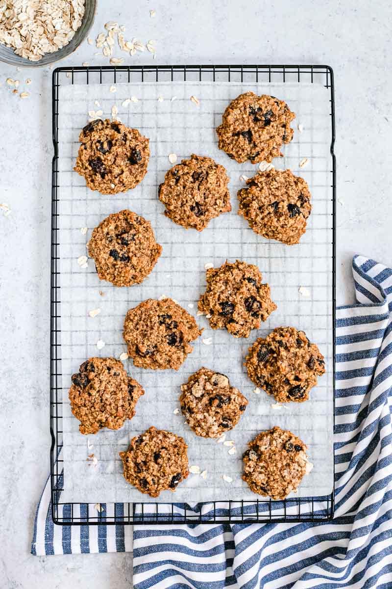 Healthy Cinnamon Oatmeal Raisin Cookies on cooling rack