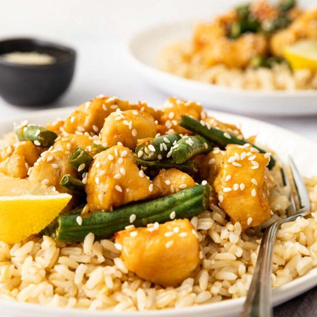 Healthy Lemon Chicken Stir Fry plated