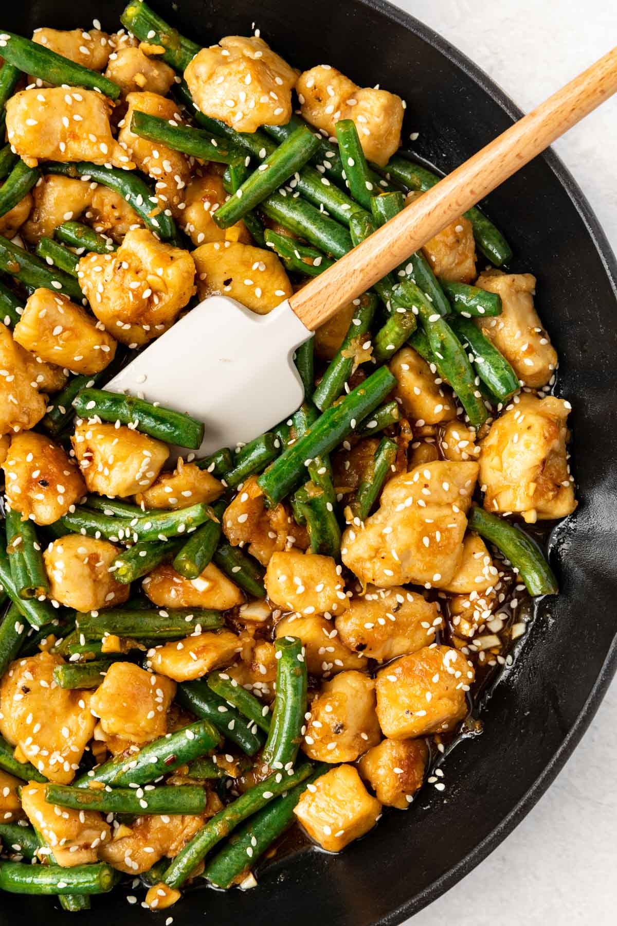 Healthy Lemon Chicken Stir Fry in the pan