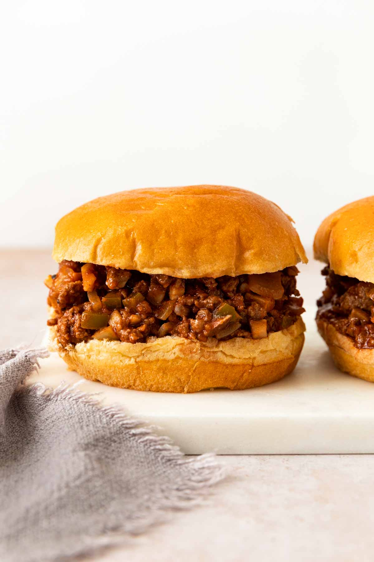 Healthy Sloppy Joes on a plate side by side
