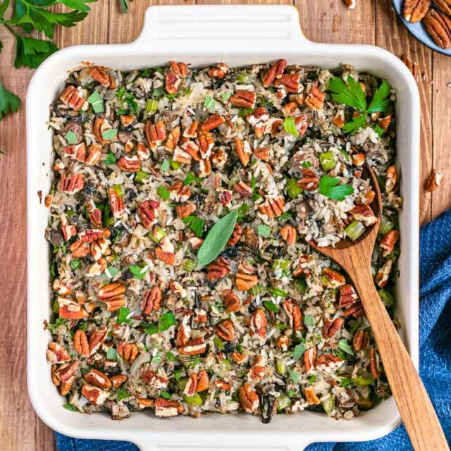 Healthy Wild Rice Stuffing in baking dish