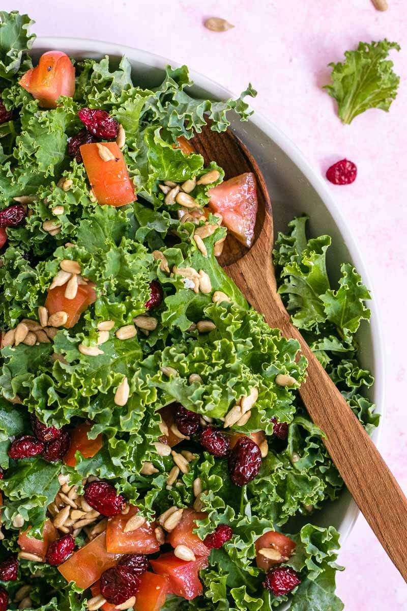 Kale Salad in bowl with spoon