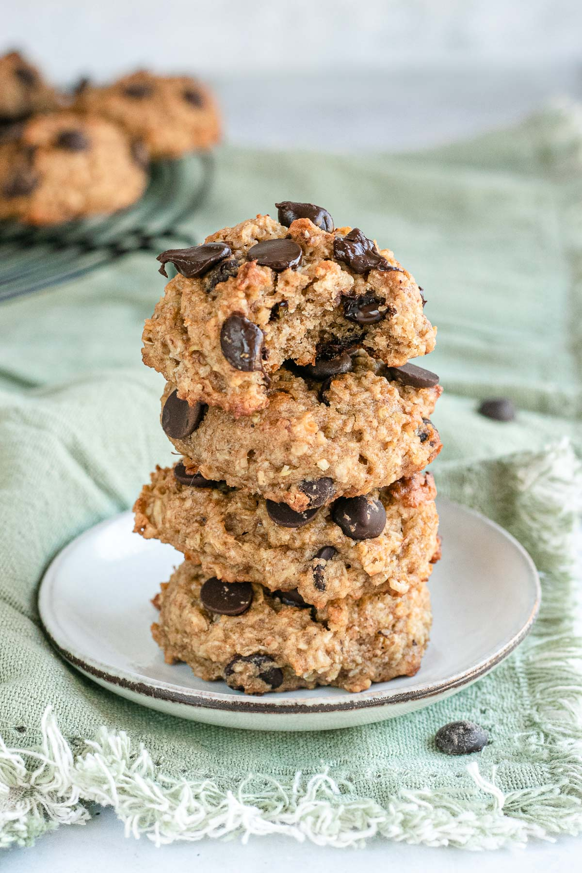 Quinoa-Cookies on a plate stacked on top of each other