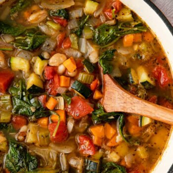 Tuscan-Vegetable-Soup with wooden spoon