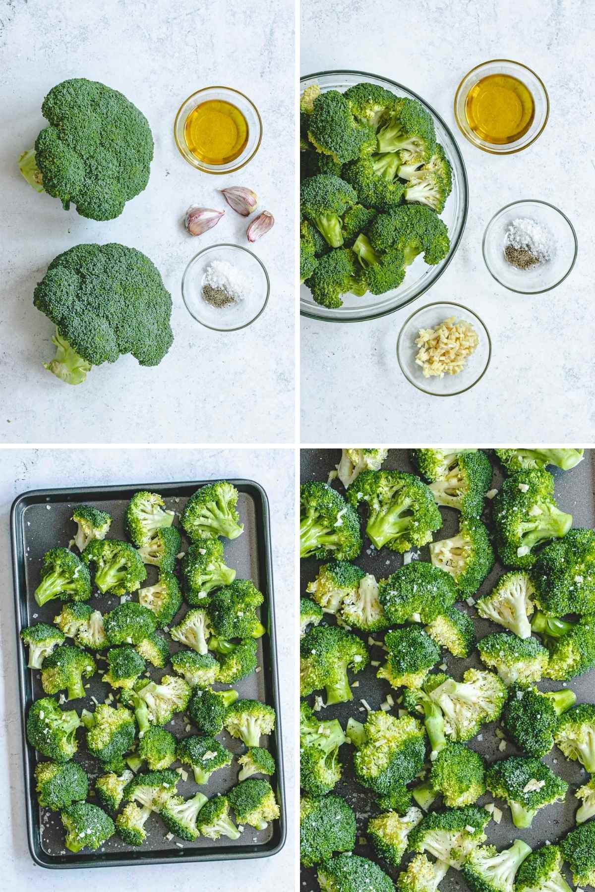 Roasted Broccoli with Garlic Collage