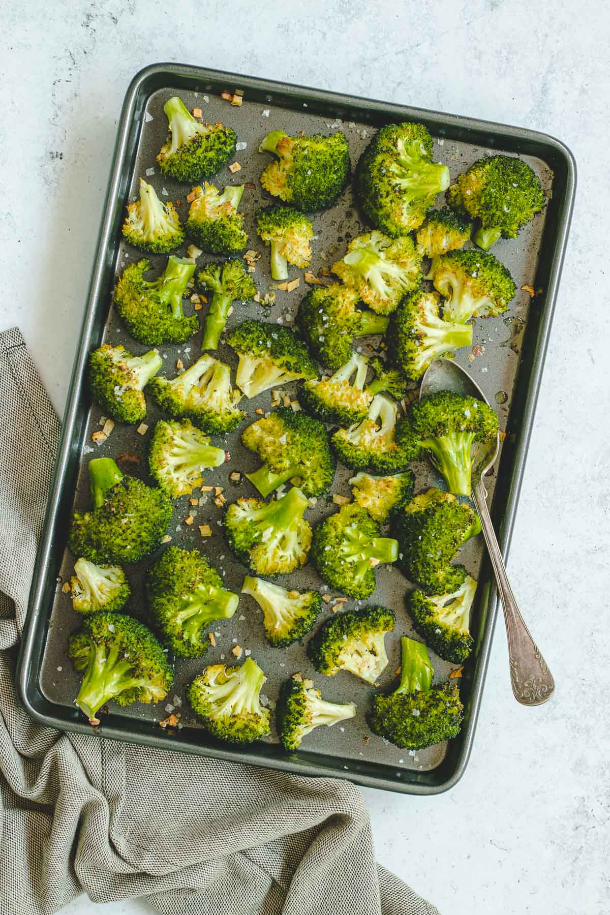 Roasted Broccoli with Garlic finished in pan