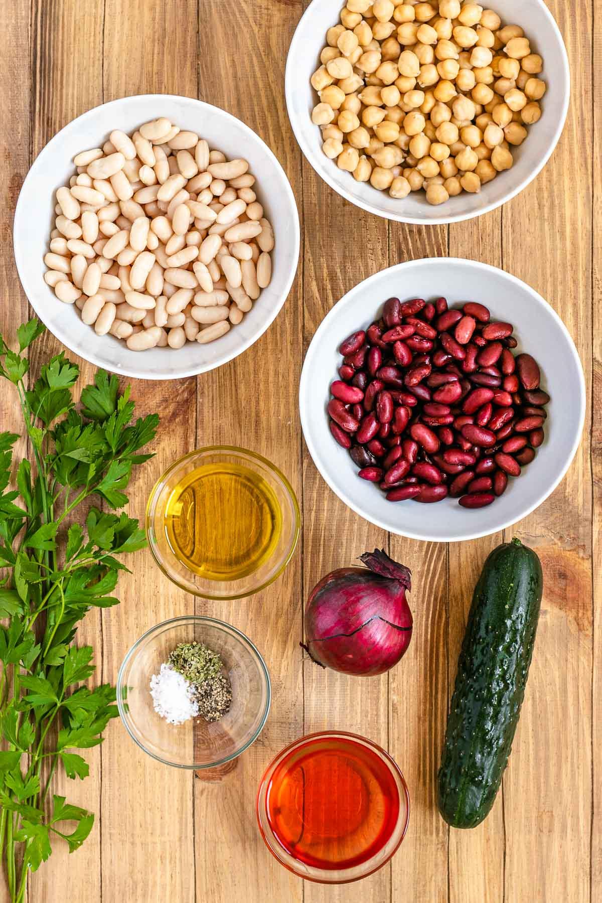 Three Bean Salad ingredients in bowls