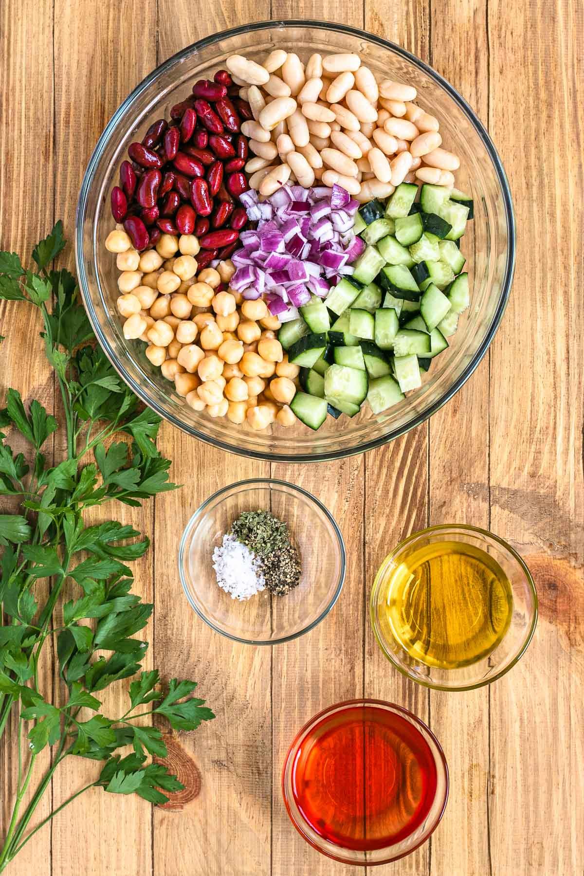 Three Bean Salad ingredients in bowl before mixing