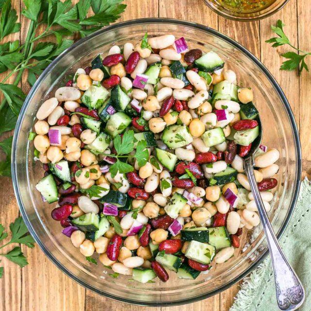 Three Bean Salad in serving bowl