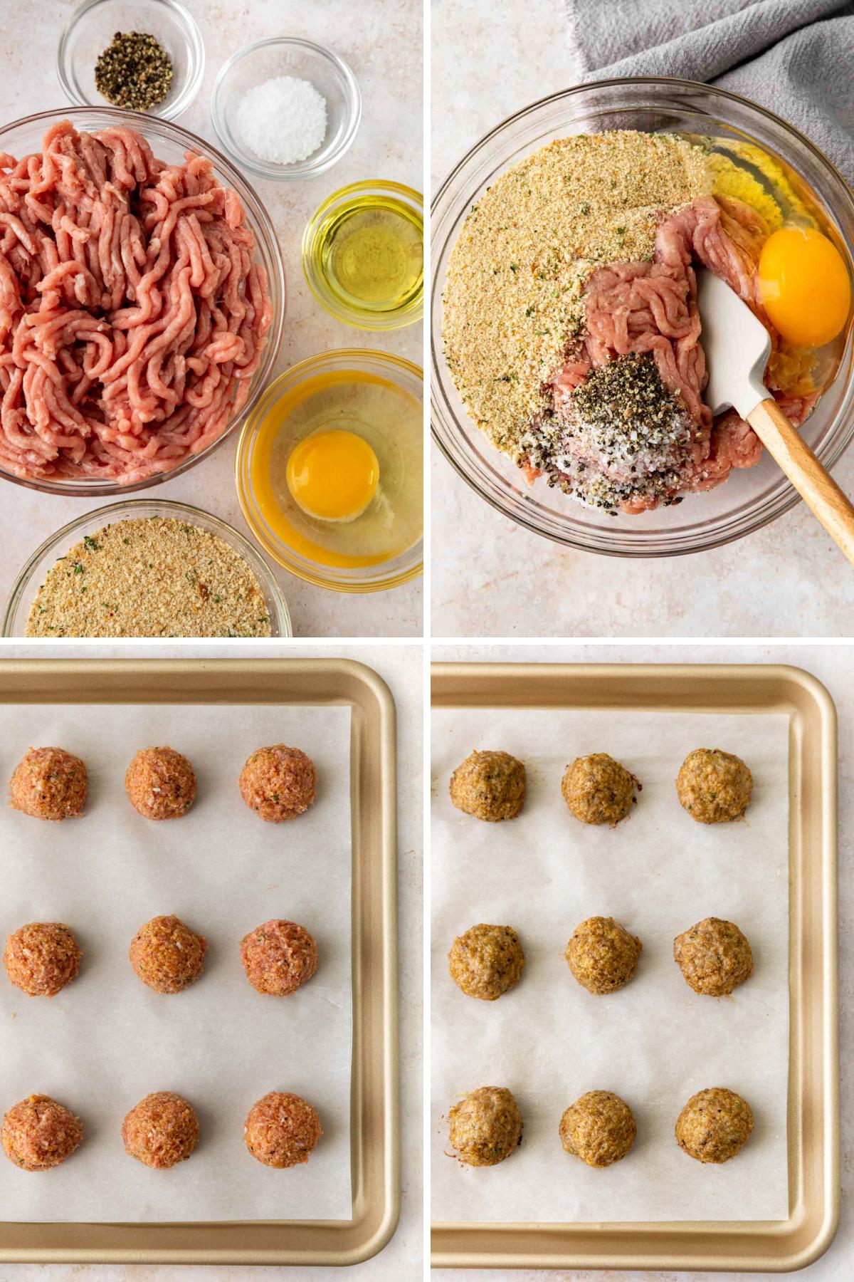 Turkey Meatballs Collage of prep steps
