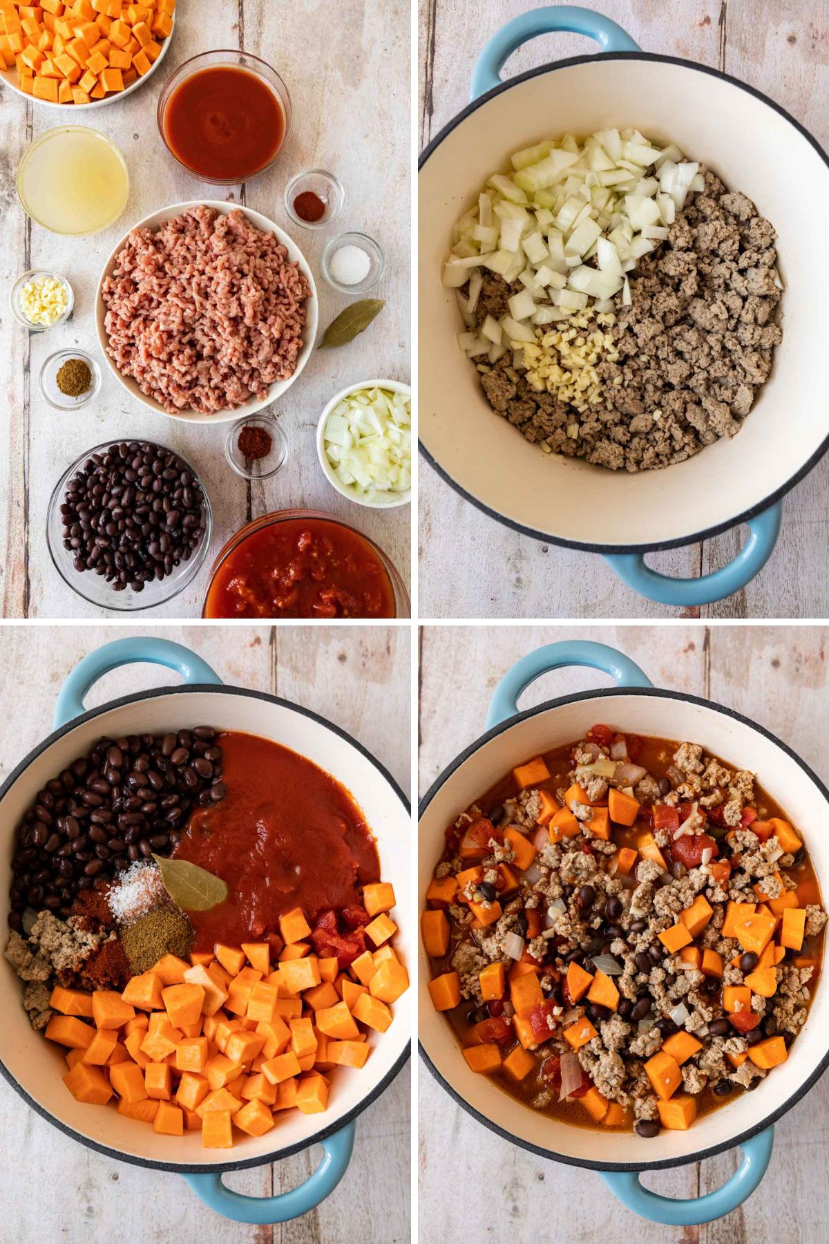Turkey Sweet Potato Chili Collage