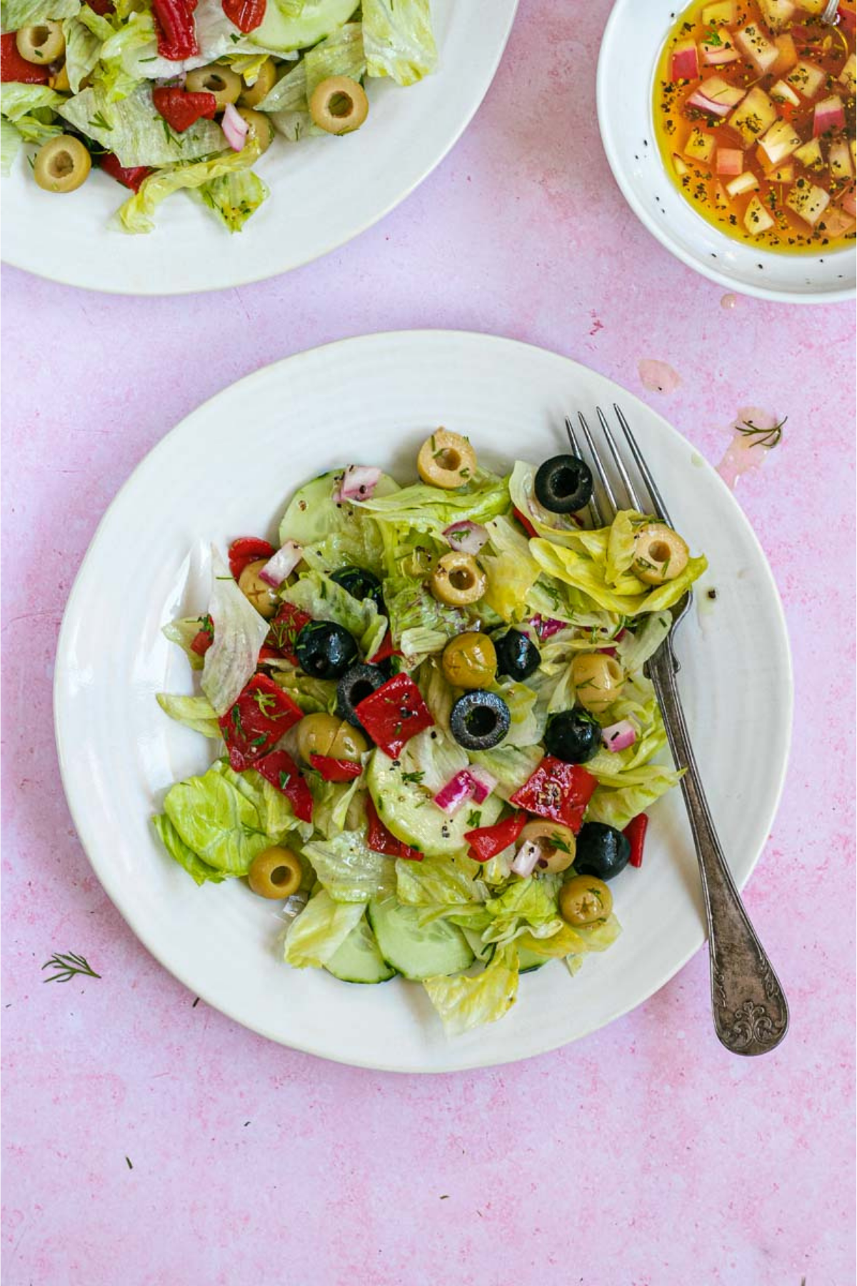Chopped Salad on a plate with fork