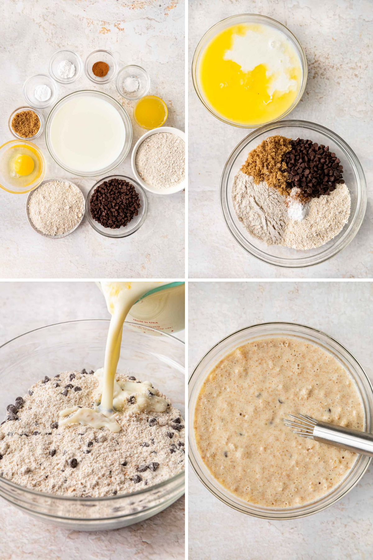 Whole Wheat Chocolate Chip Pancakes Collage