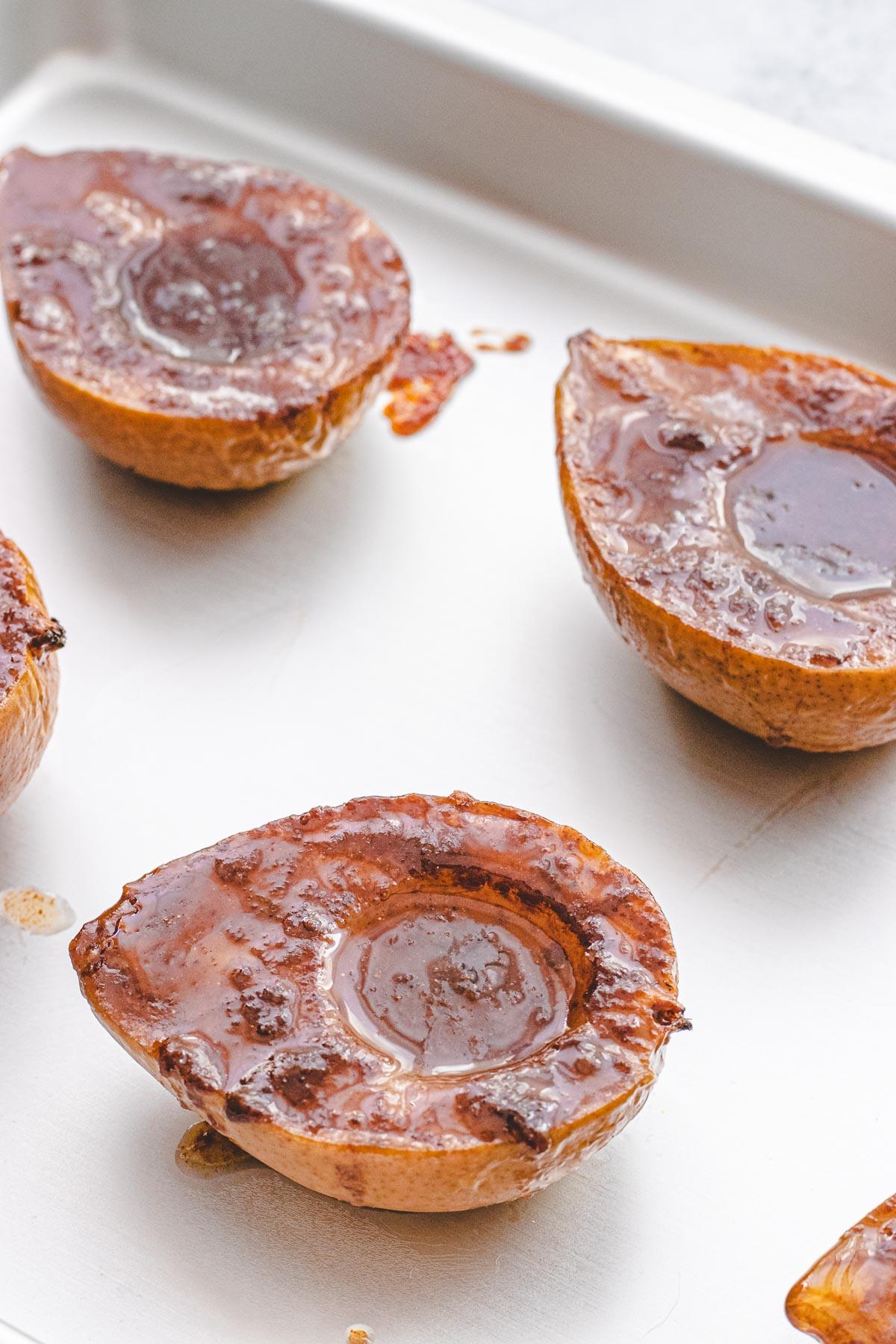 Baked Pears on baking sheet pan